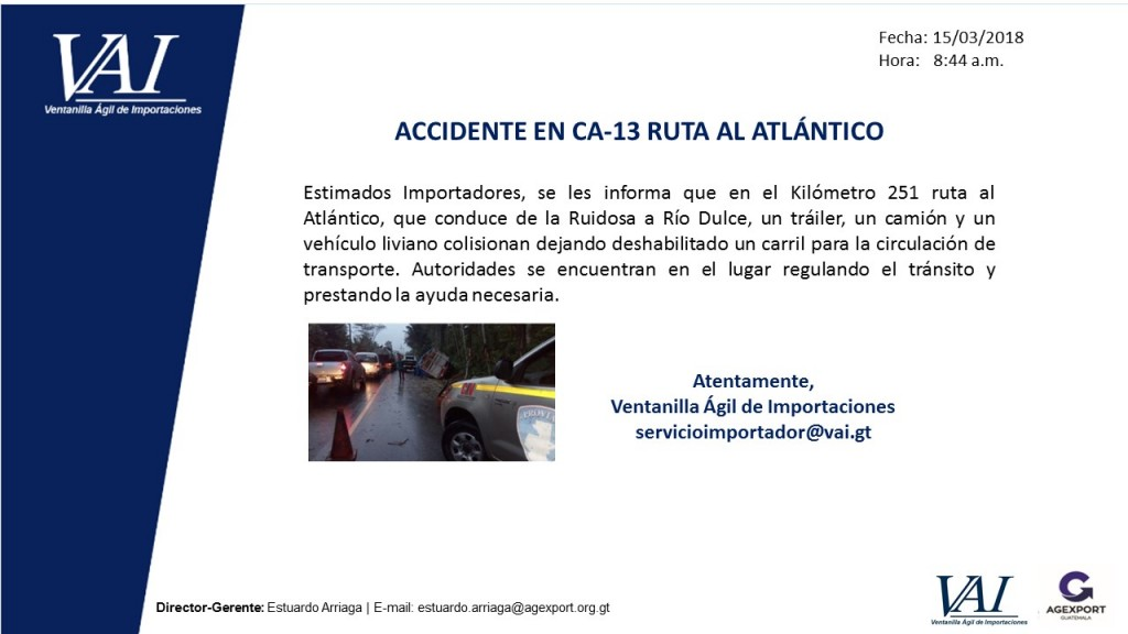 Accidente en CA-13 Ruta al Atlántico
