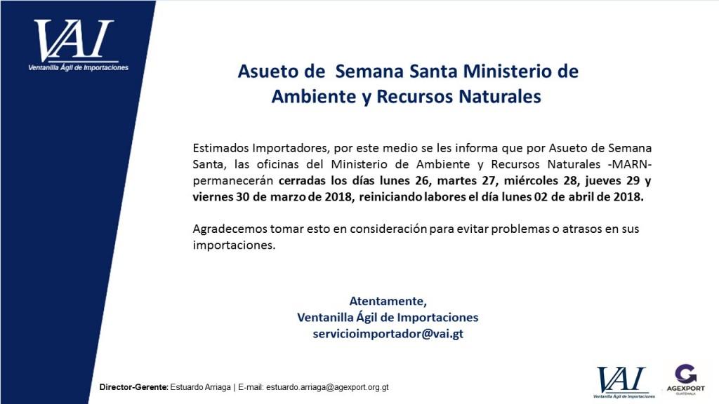 Asueto Semana Santa 2018 Ministerio de Ambiente y Recursos Naturales