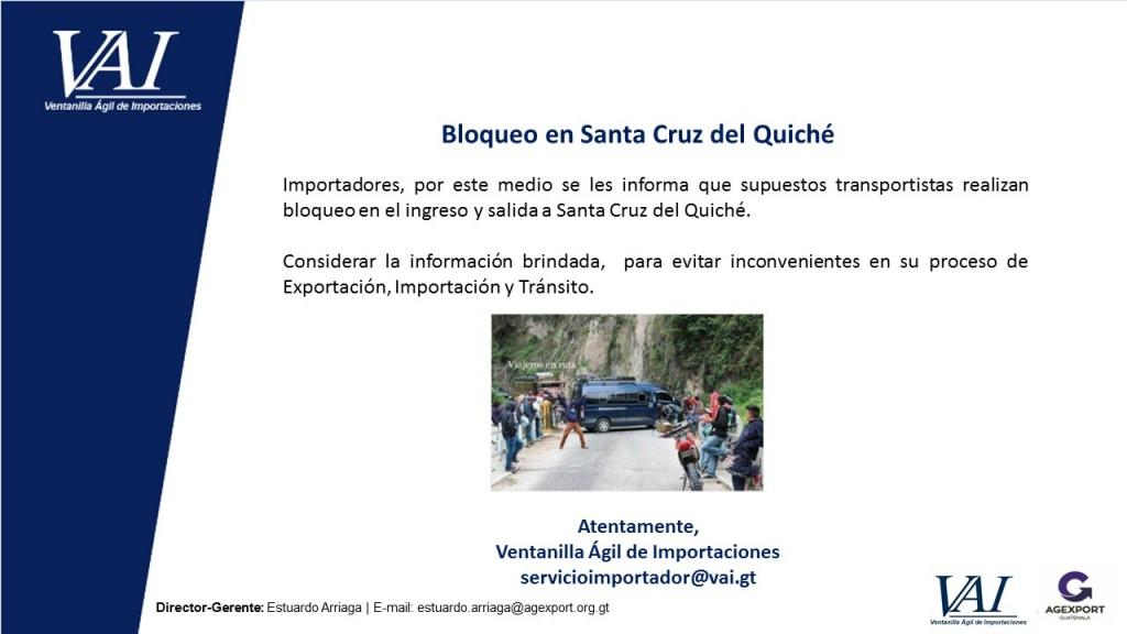 Bloqueo en Santa Cruz del Quiché_
