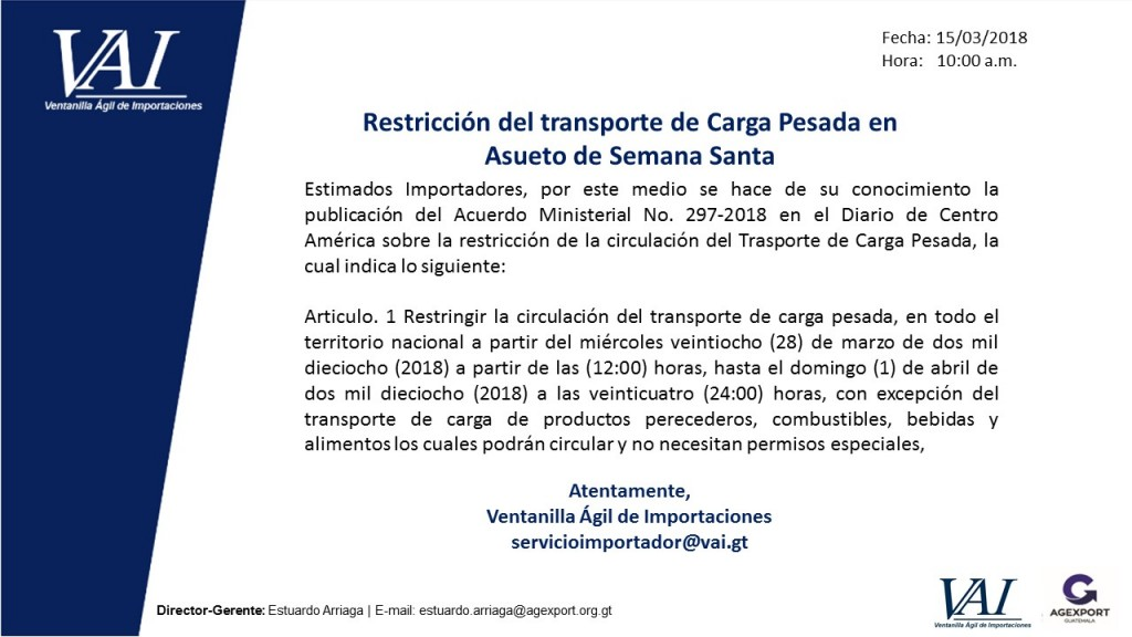 Restricción de ciruculación del Transporte de Carga Pesada Asueto Semana Santa