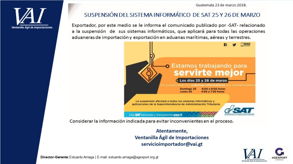 Suspención del Sistema Informatico de SAT 25 y 26 de Marzo 2018