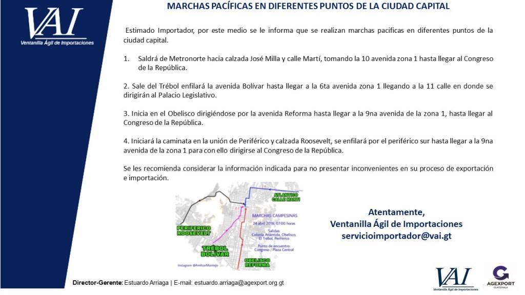 MARCHAS PACÍFICAS EN DIFERENTES PUNTOS DE LA CIUDAD CAPITAL