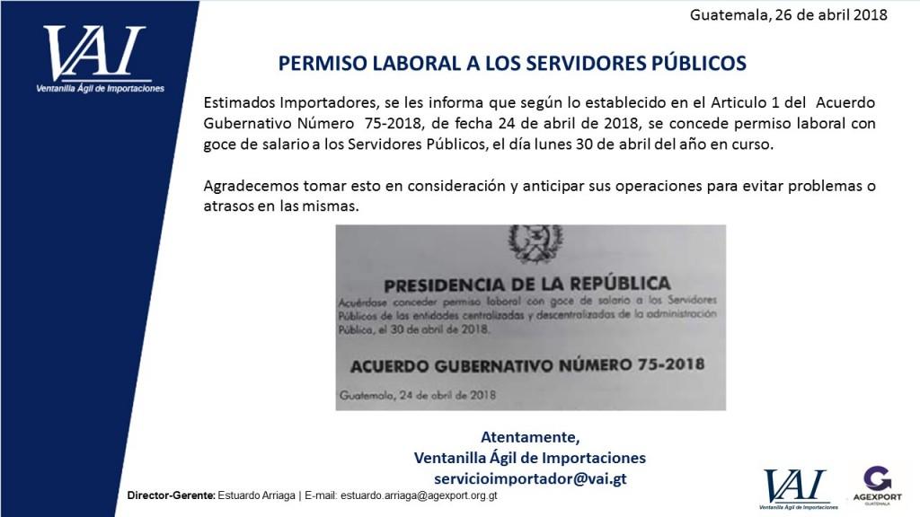 PERMISO LABORAL A LOS SERVIDORES PUBLICOS