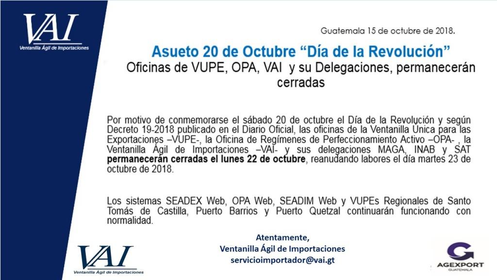 Asueto 22 de octubre día de la Revolución 2018