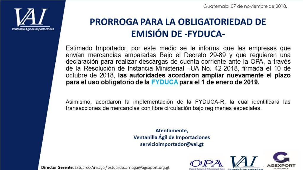Prorroga para emisión de FYDUCA 2018