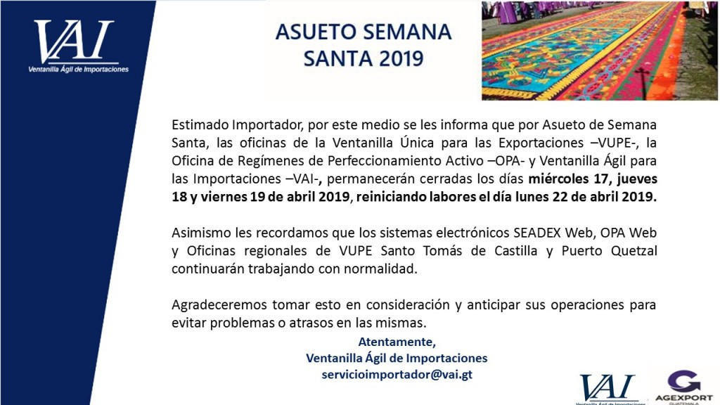 Asueto Semana Santa abril 2019