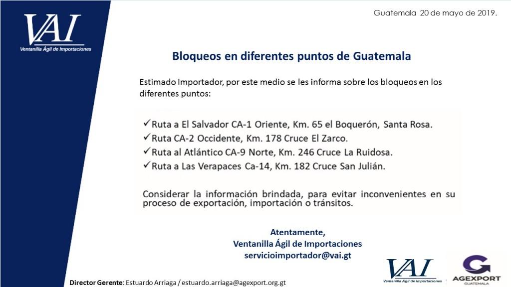 Bloqueos en los diferentes puntos de GUATEMALA 20_05_2019