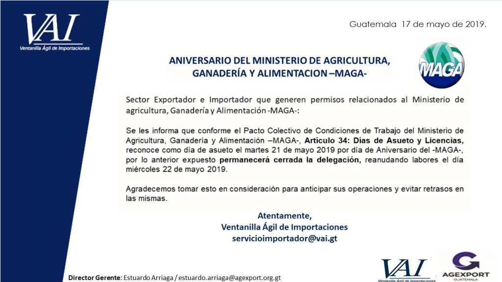 CORRECCION ASUETO MAGA POR ANIVERSARIO MAYO 2019
