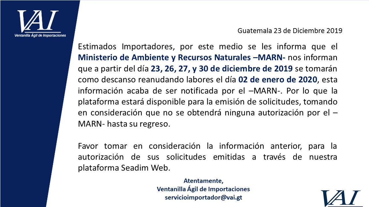 ASUETO MARN (Ministerio de Ambiente y Recursos Naturales)