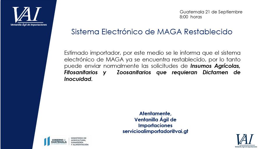 Sistema Electrónico de MAGA Restablecido