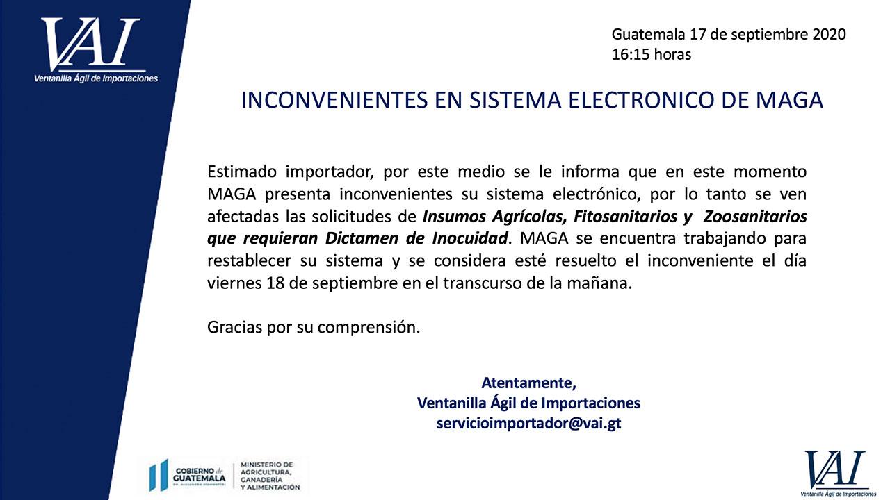 Inconvenientes en Sistema Electrónico de MAGA