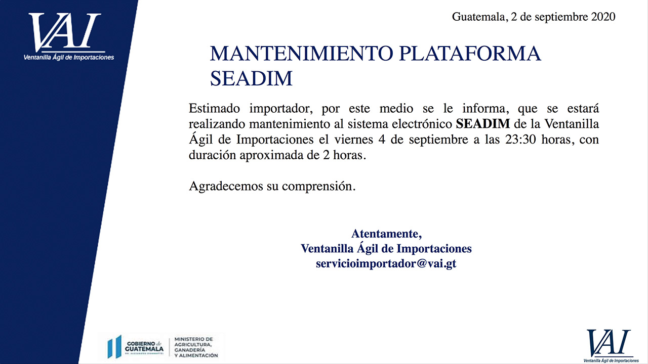 Mantenimiento plataforma SEADIM
