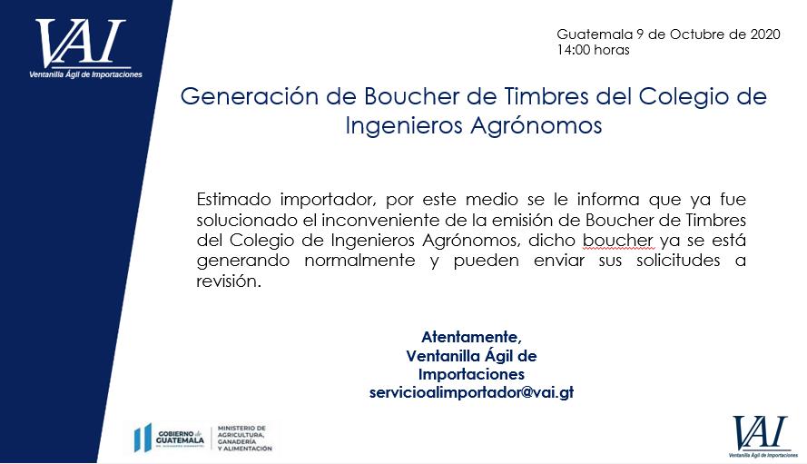 Emisión Restablecida - Boucher de Timbres del colegio de ingenieros Agrónomos