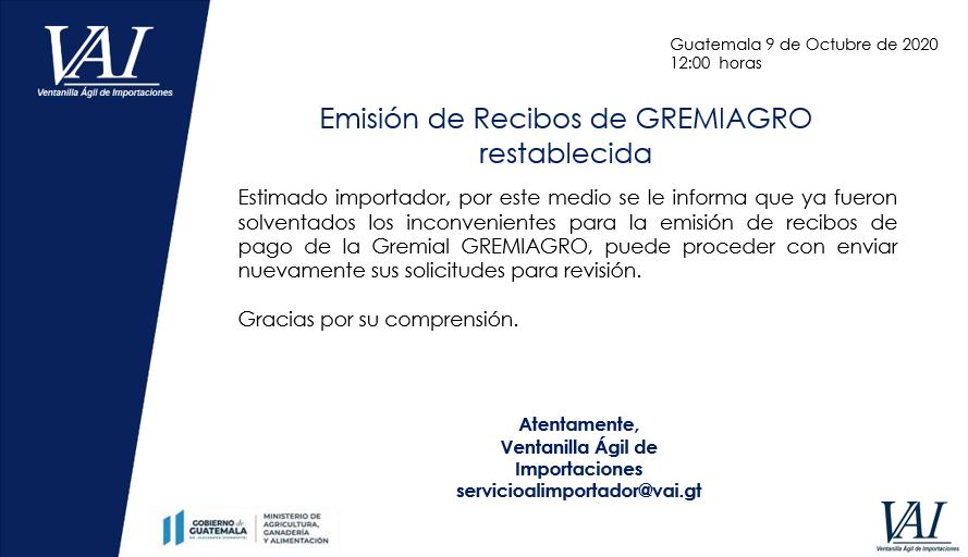Emisión de Recibos GREMIAGRO restablecida