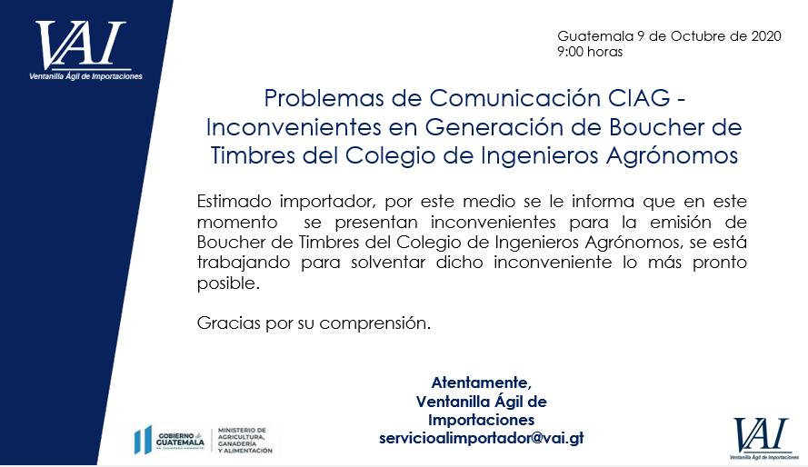 Error en emisión de Boucher de Timbres del colegio de ingenieros Agrónomos