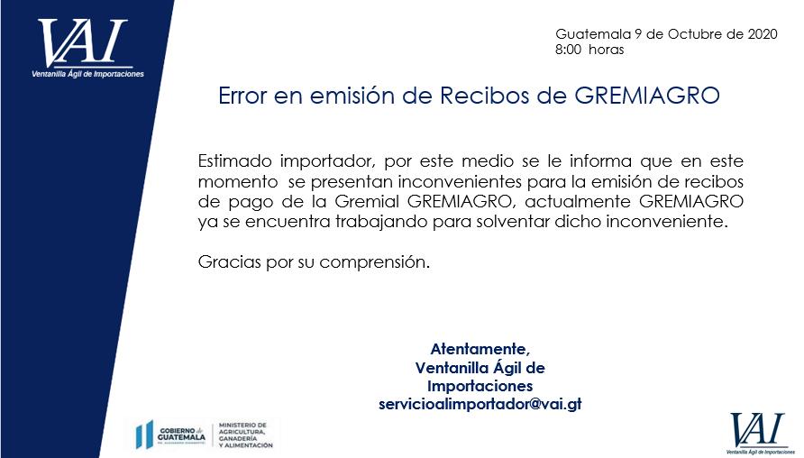 Error en emisión de recibos de GREMIAGRO